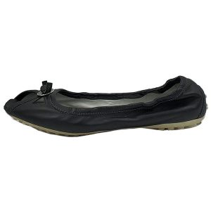 Pre-owned Tod's Open-toe Leather Flats in black, with silver-tone hardware in front.