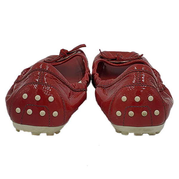 Back view of on sale pre-owned Tod's Leather Square Toe Flats in red.