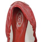 Logo of on sale pre-owned Tod's Leather Square Toe Flats in red.