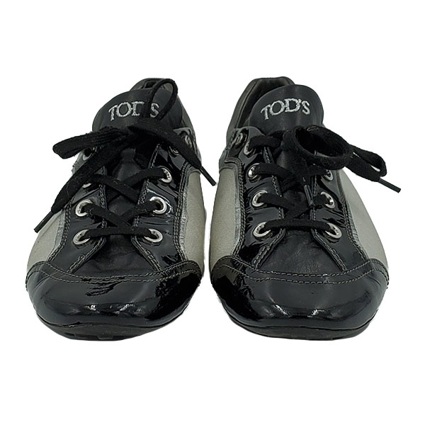 Front view of pre-owned Tod's Multi-colour Casual Shoes in black and grey, in lace-up style.