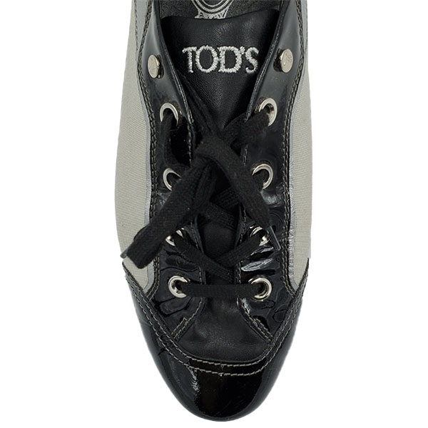 Top view of pre-owned Tod's Multi-colour Casual Shoes in black and grey, with lace-up style.