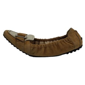 On sale pre-owned Tod's Suede Leather Flats in tan, with silver buckle design.