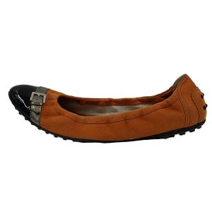 Pre-owned Tod's Suede Leather Flats in orange, with shiny black cap.