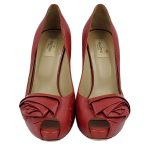Front view of pre-owned Valentino Garavani Leather Peep-toe Pumps in red, with floral design in front.
