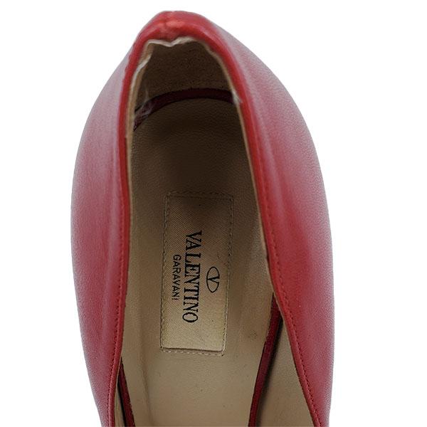 Logo of pre-owned Valentino Garavani Leather Peep-toe Pumps.