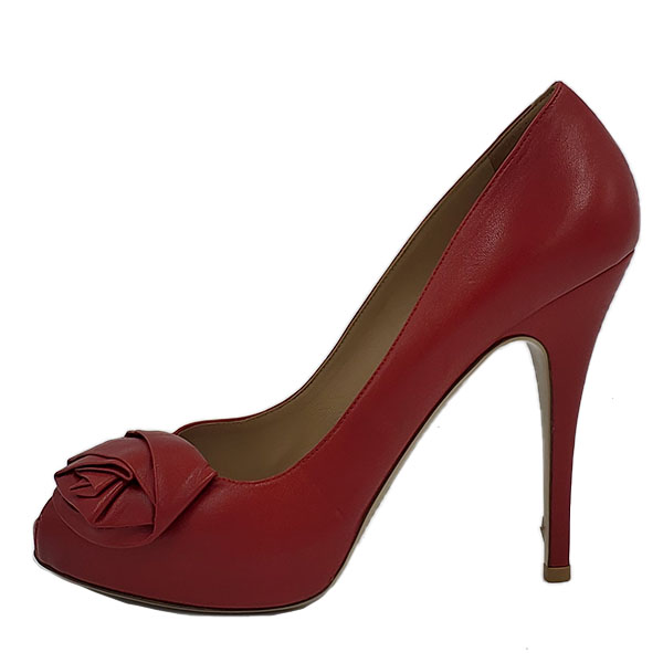 Pre-owned Valentino Garavani Leather Peep-toe Pumps in red, with skinny heels and floral design in front.