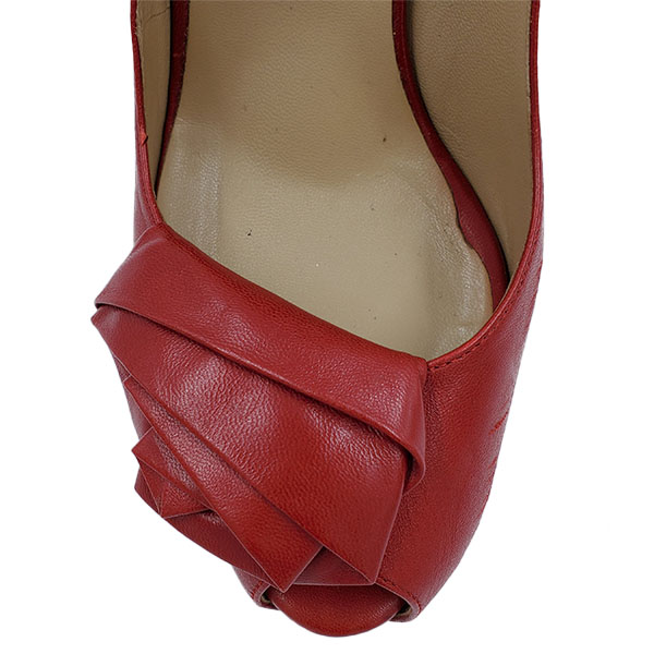 Top view of pre-owned Valentino Garavani Leather Peep-toe Pumps in red, with floral design at front.