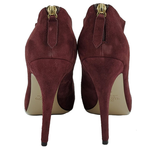 Back view of pre-owned Valentino Garavani Suede Ruffle Booties in burgundy, with back zip.