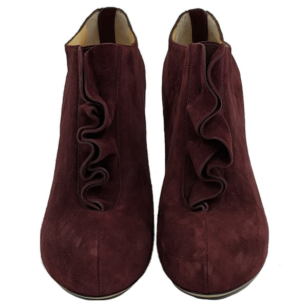 Front view of pre-owned Valentino Garavani Suede Ruffle Booties in burgundy.