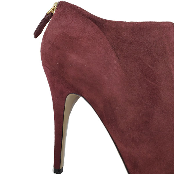 Close up back view of pre-owned Valentino Garavani Suede Ruffle Booties in burgundy, with back zip.