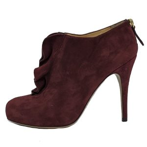 Pre-owned Valentino Garavani Suede Ruffle Booties in burgundy, with back zip.