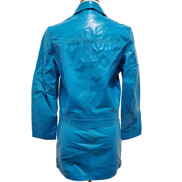 Back view of pre-owned Versace Jeans Leather Jacket & Skirt Suit in blue.