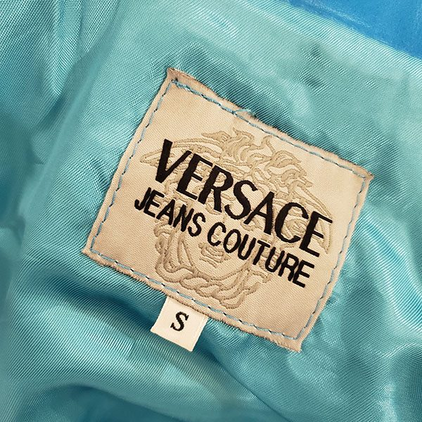 Logo of pre-owned Versace Jeans Leather Jacket & Skirt Suit.