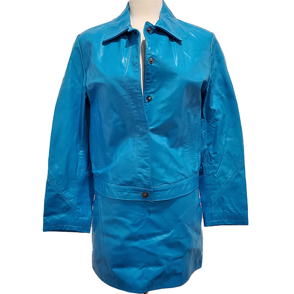 Pre-owned Versace Jeans Leather Jacket & Skirt Suit in blue.