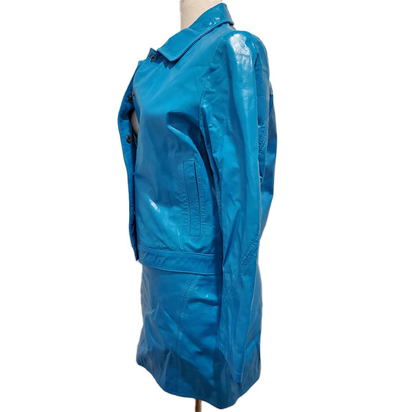 Side view of pre-owned Versace Jeans Leather Jacket & Skirt Suit in blue.