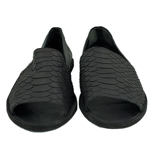 Front view of pre-owned Vince Open-toe Slip-on Sandals in black, with embossed animal print.