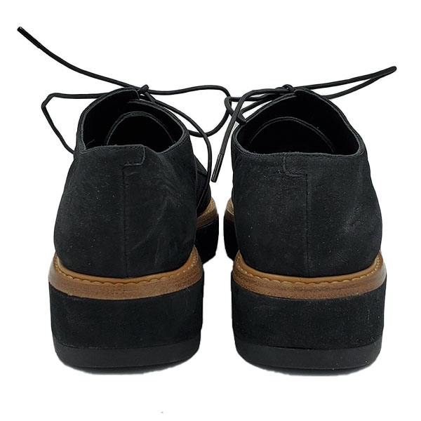 Back view of pre-owned Vince Suede Oxford Platform in black.