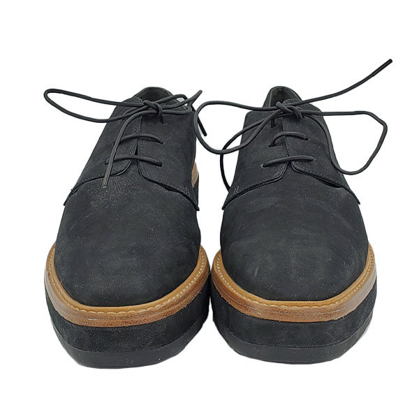 Front view of pre-owned Vince Suede Oxford Platform in black, with lace-up style.