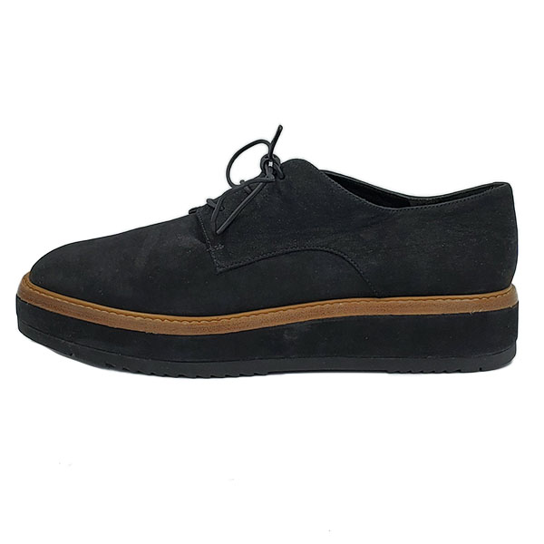 Pre-owned Vince Suede Oxford Platform in black, with lace-up style.