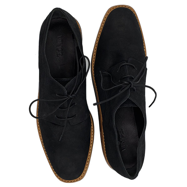 Top view of pre-owned Vince Suede Oxford Platform in black, with lace-up style.