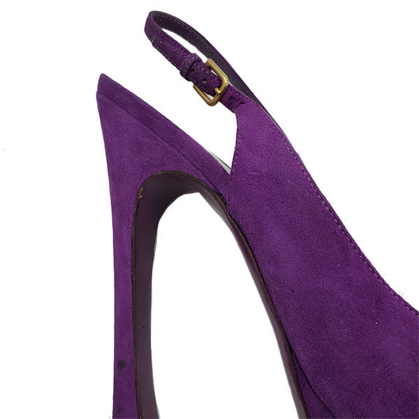 Close up back view of on sale pre-owned Yves Saint Laurent Peep-toe Platform Pumps in purple, with adjustable buckle.