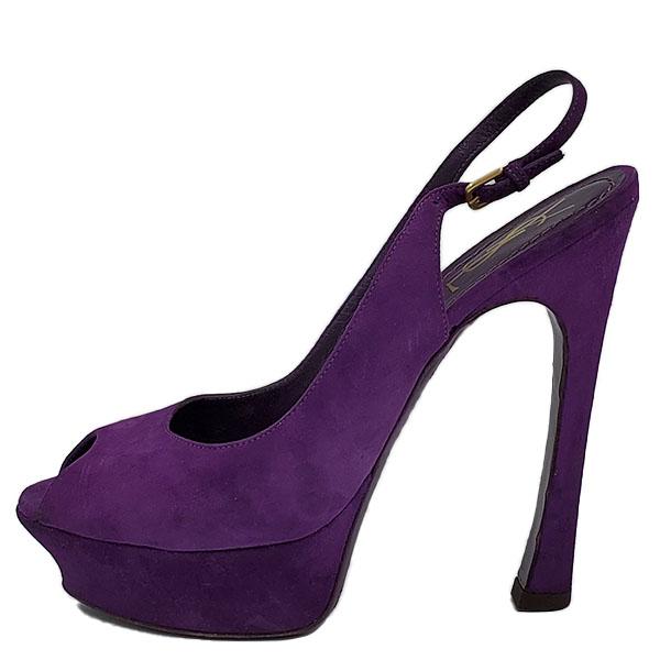 On sale pre-owned Yves Saint Laurent Peep-toe Platform Pumps in purple, with adjustable buckle.