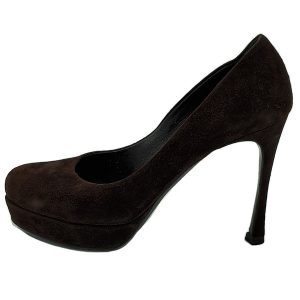 On sale pre-owned Yves Saint Laurent Platform Pumps in brown suede, with skinny heels and slightly rounded toe.