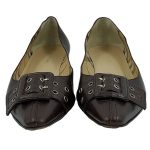Front view of pre-owned Burberry Pointed-toe Flats in brown, with buckle details.