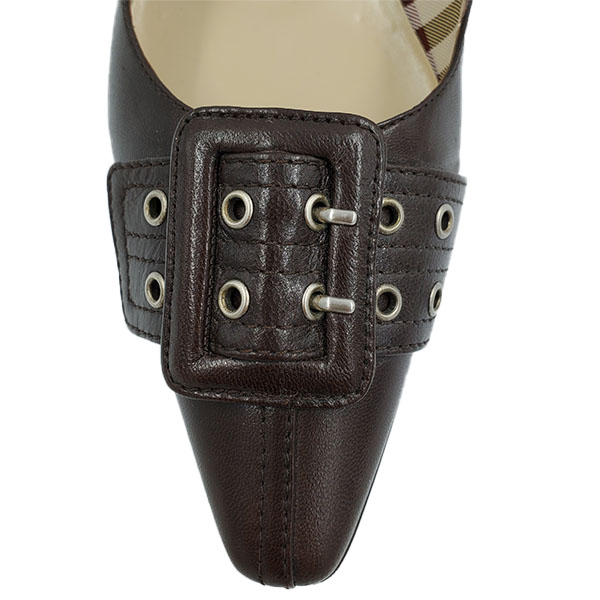 Top view of pre-owned Burberry Pointed-toe Flats in brown, with buckle details.
