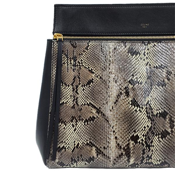Close up details of pre-owned Celine Snakeskin Edge Bag.