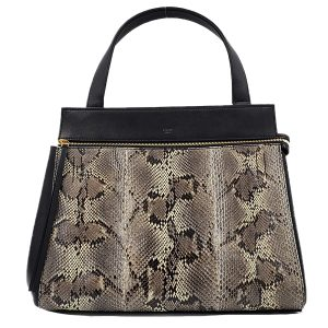 Pre-owned Celine Snakeskin Edge Bag in black, with single flat shoulder strap.