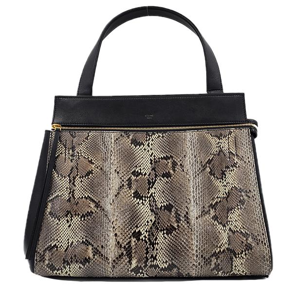 Pre-owned Celine Snakeskin Edge Bag in black, with single flat shoulder strap.