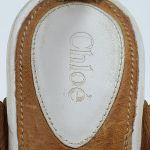 Logo of pre-owned Chloe Perforated Wedge Sandals.