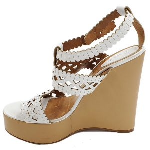 Pre-owned Chloe Perforated Wedge Sandals in white.