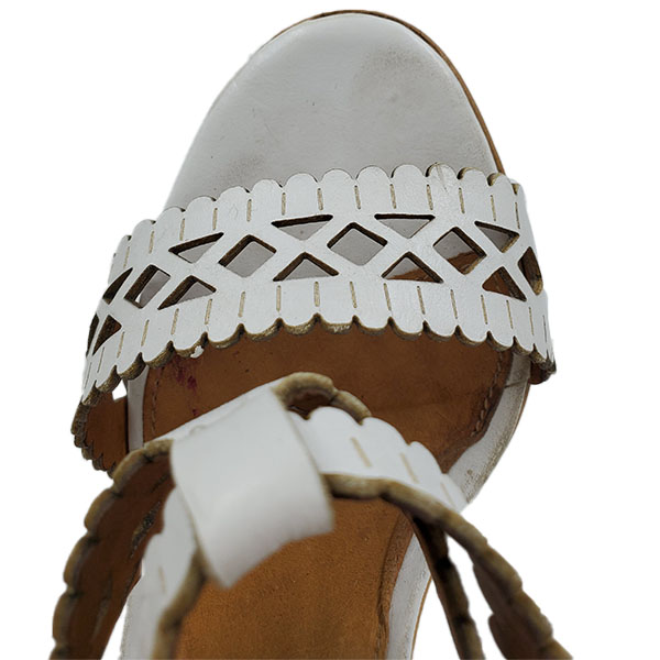 Top view of pre-owned Chloe Perforated Wedge Sandals in white.