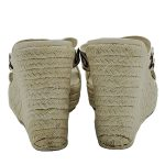 Back view of pre-owned Gucci Printed Espadrille Wedges in ivory, with braided jute heels.