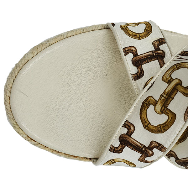 Top view of pre-owned Gucci Printed Espadrille Wedges in ivory.