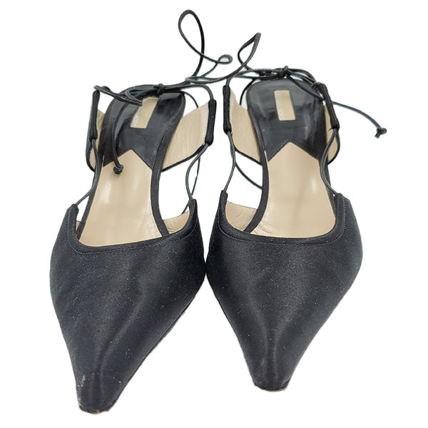 Front view of pre-owned Michael Kors Satin Pumps With Wrap Around Straps in black, with pointed toe.