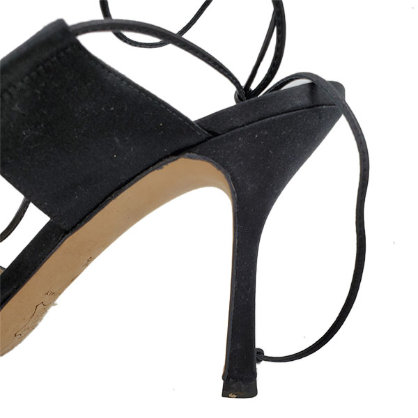 Close up back view of pre-owned Michael Kors Satin Pumps With Wrap Around Straps in black, with skinny heels.