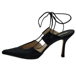 Pre-owned Michael Kors Satin Pumps With Wrap Around Straps in black, with pointed toe.