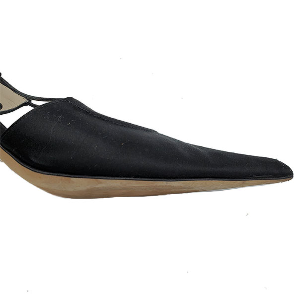 Close up front view of pre-owned Michael Kors Satin Pumps With Wrap Around Straps in black, with pointed toe.