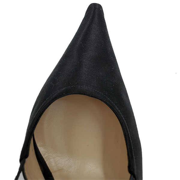 Top view of pre-owned Michael Kors Satin Pumps With Wrap Around Straps in black, with pointed toe.