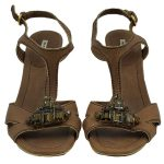 Pre-owned Miu Miu Embellishment Sandals in brown, with gold-tone heels.