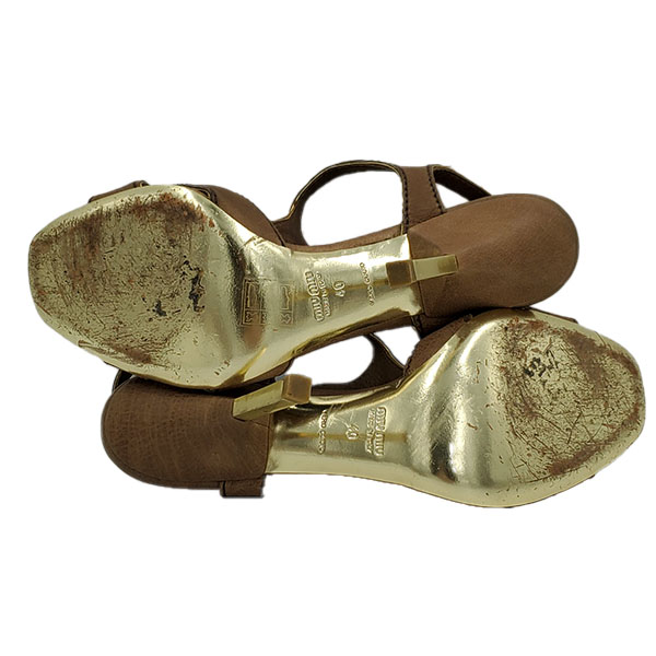 Soles of pre-owned Miu Miu Embellishment Sandals.