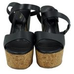 Front view of pre-owned Sergio Rossi Cork Platform Wedges in black.