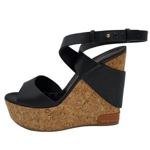 Pre-owned Sergio Rossi Cork Platform Wedges in black, with gold-tone hardware.