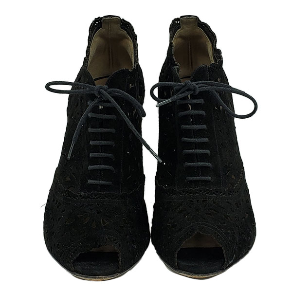 Front view of pre-owned Valentino Garavani Perforated Lace-Up Heels in black suede, with open toe.