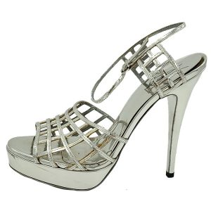 Pre-owned Yves Saint Laurent Patent Leather Platform Sandals in silver, with caged design.
