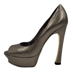 Pre-owned Yves Saint Laurent Peep-toe Platform Pumps in metallic grey.