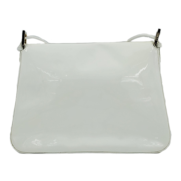 Back view of pre-owned Fendi Patent Leather Mamma Forever Bag in white, with silver-tone hardware.